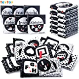 teytoy My First Soft Book, 6 PCS Nontoxic Fabric Baby Cloth Activity Crinkle Soft Black and White Books for Infants Boys…