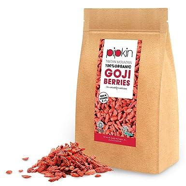 Pipkin Bayas de Goji Naturales 100% Orgánicas, Sin Gluten, Sin Conservantes y Certificadas por la The Soil Association. Vegetarianas y Vegadas, 500G