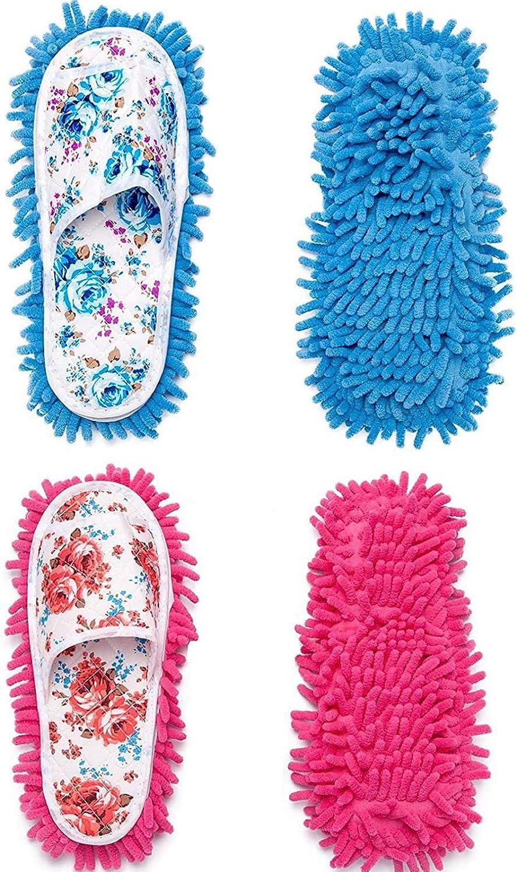 Yardwe Microfiber Slippers Floor Cleaning Mop Floor Dust Cleaning Tool Unisex Slippers Women and Men House Slippers Mopping Slipper Detachable Bottom Deer Shape