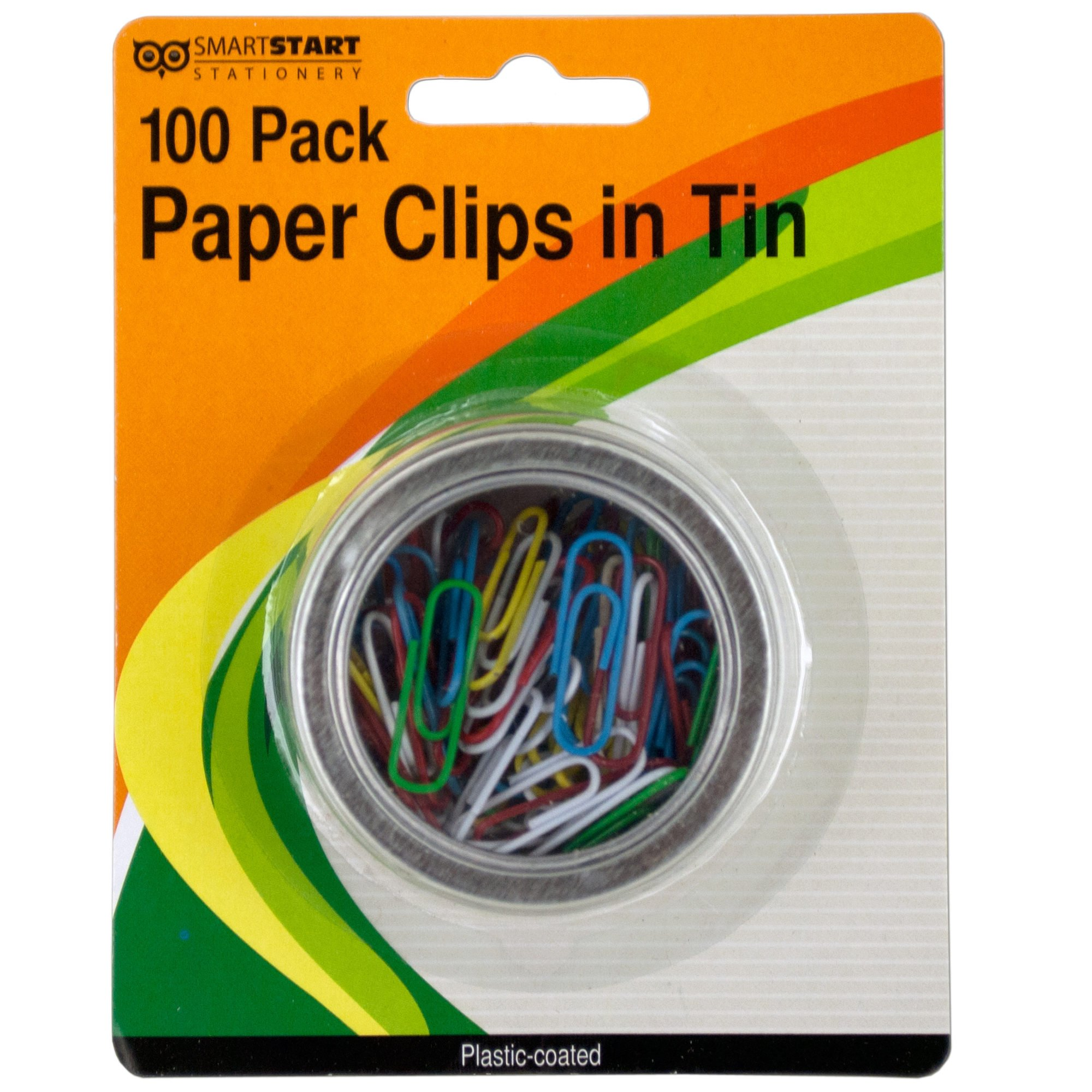 123-Wholesale - Set of 36 Plastic Coated Paper Clips in Round Tin - School & Office Supplies Paper Clips, Clamps & Punches