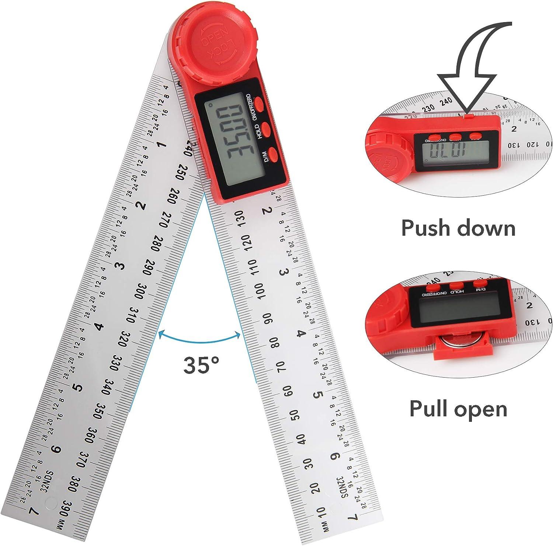 juego de combinaci/ón ajustable de 12 pulgadas 3 paquetes de herramientas de medici/ón regla triangular de aluminio de 7 y transportador de /ángulo digital con funci/ón de cero y bloqueo.