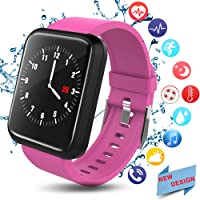 andmei Fitness Tracker, Activity Tracker with Swimming Pedometer Blood Pressure Heart Rate Sleep Monitor Bluetooth Weather Call SMS SNS IP67 Waterproof for Women Men Android IOS phone
