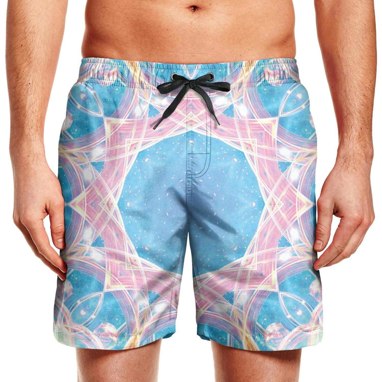 Mandala Gradient Psychedelic Pattern Purple Man Fashion Beach Shorts Swim Trunks Shorts Sweatpants Drawstring Waist
