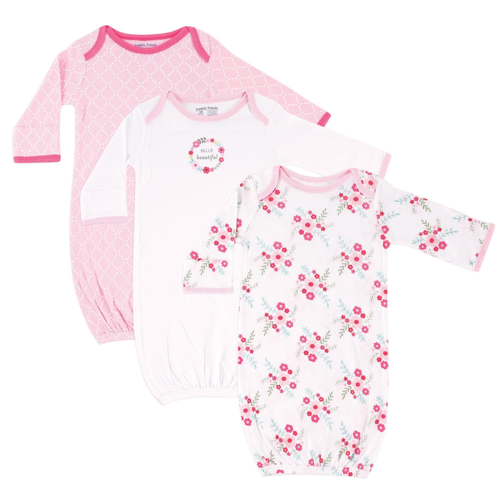 Luvable Friends Unisex 3 Pack Cotton Gown, Pink Floral, 0-6 Months