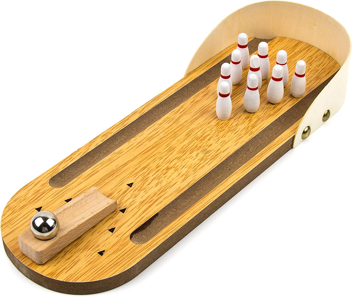 Toysery Wooden Mini Bowling Game - Premium Material, Safe for Kids - Best Indoor Game Ages - Easy to Set Up - Great Gift Idea