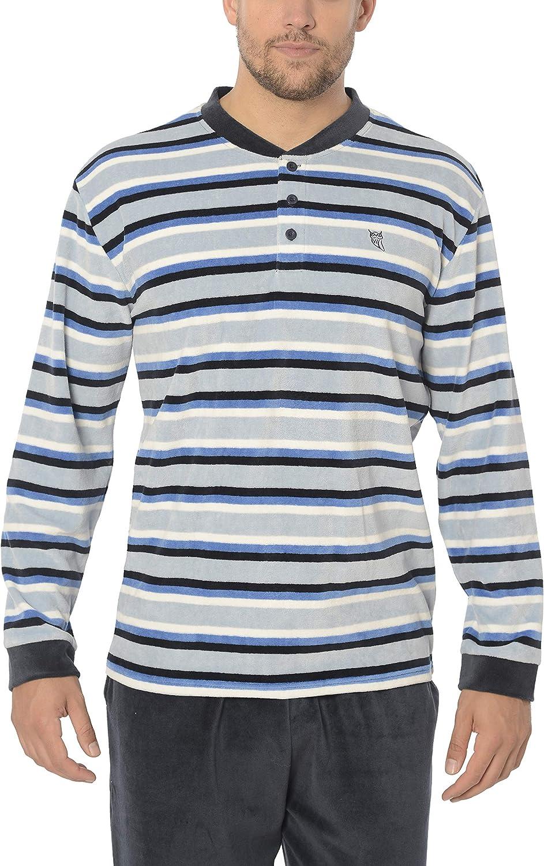 Pijama de Caballero Terciopelo Ropa de Dormir Pijama de Hombre de Manga Larga Moderno a Rayas El B/úho Nocturno 20/% Pol. Especial Invierno 80/% alg