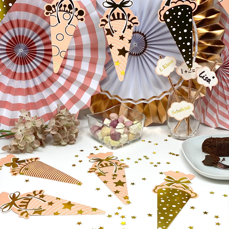 Oblique Unique/® Zuckert/üte Konfetti 12 Stk Zuckert/üten Schult/üten Tisch Dekoration Streu Deko Schuleinf/ührung Einschulung Schulanfang M/ädchen Rosa Gold
