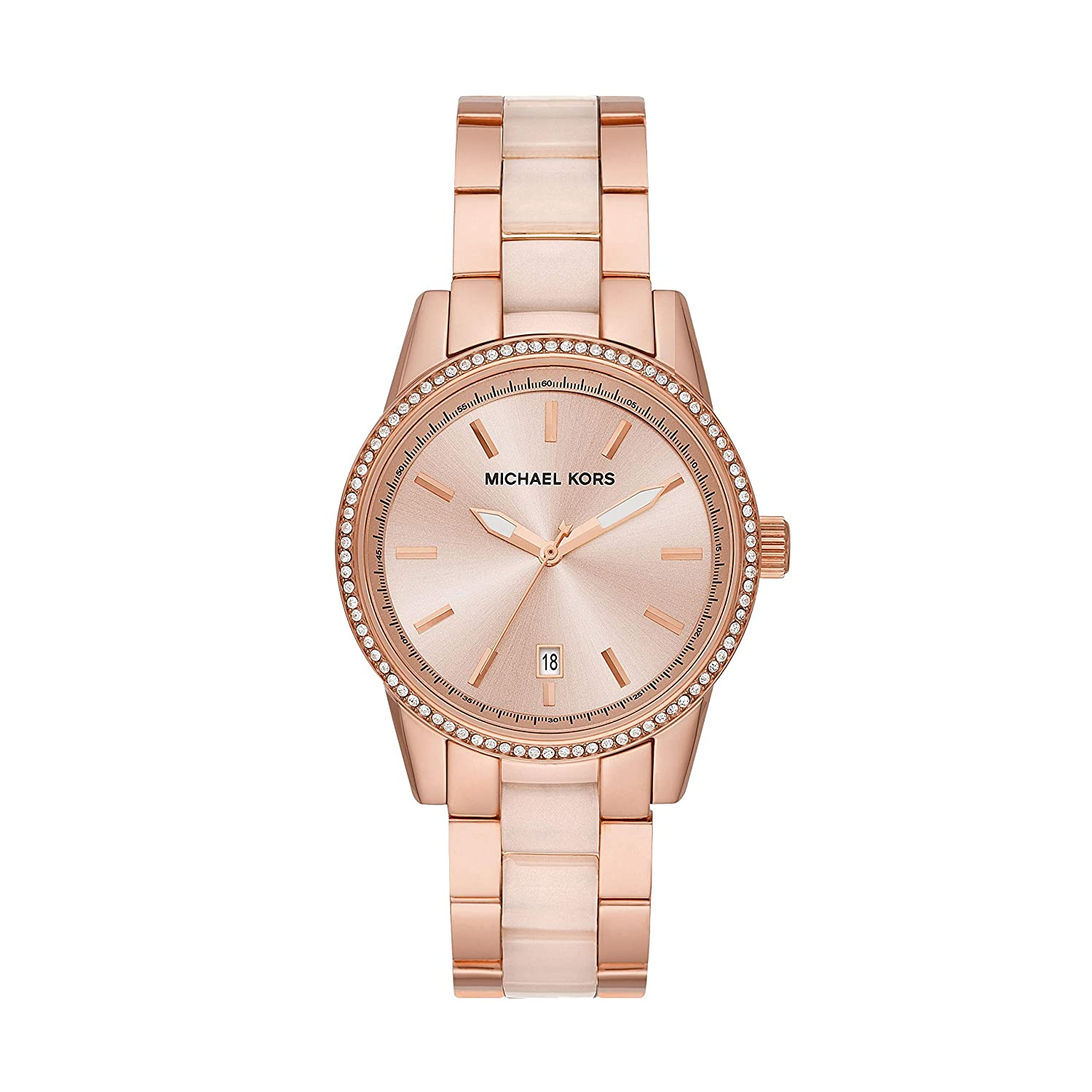 7f86195cb Amazon.com: Michael Kors Women's Ritz Rose Gold Tone Acetate and Stainless  Steel Watch MK6349: Watches