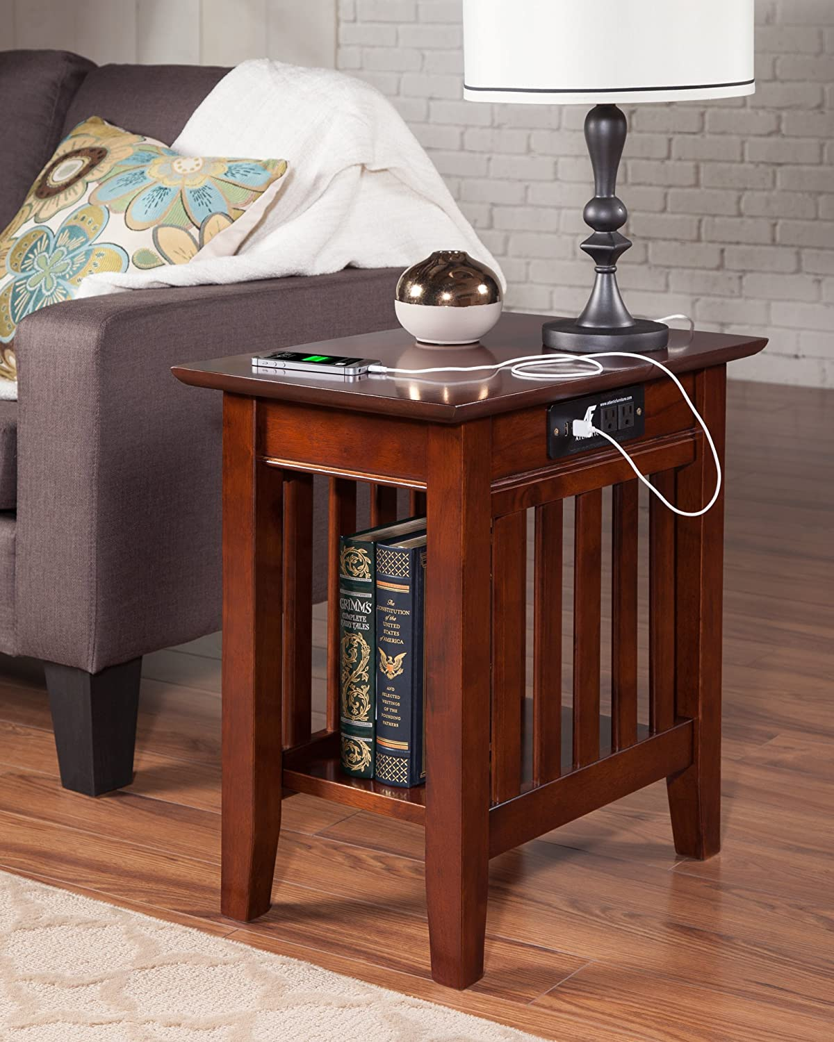 Amazon com atlantic furniture ah13214 mission side table rubber wood walnut kitchen dining