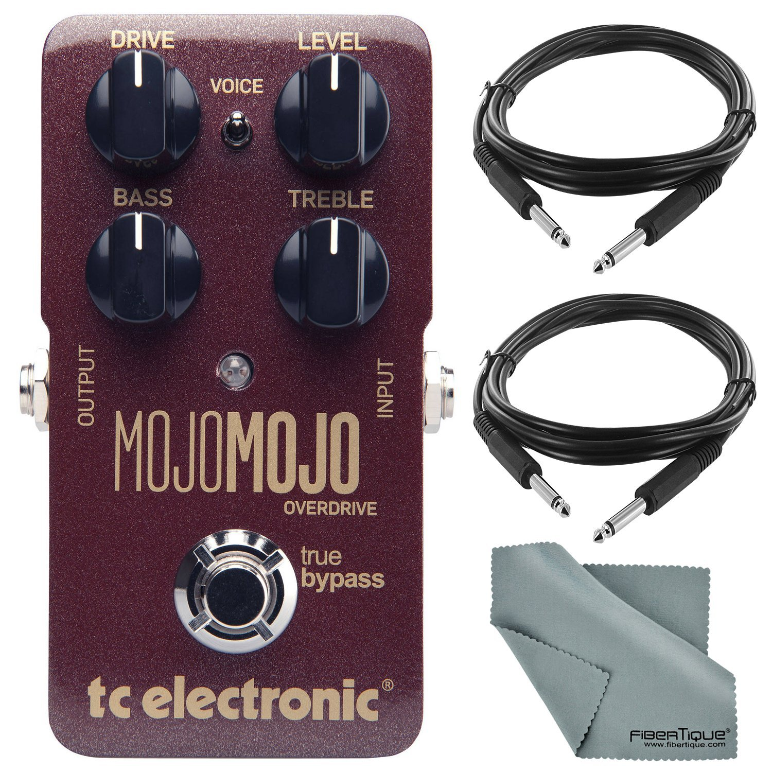 TC Electronic MojoMojo Overdrive Tube Amp Overdrive Effect Pedal and Accessory Bundle w/ Xpix Cables + Fibertique Cleaning Cloth