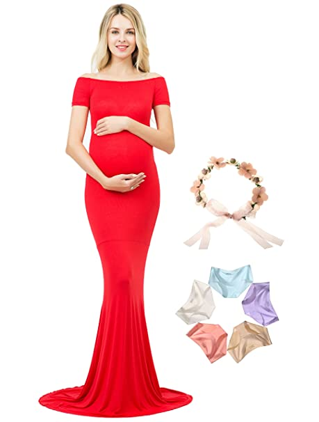 1be28a7ad3 Photoshoot Maternity Dress Off Shoulder Photography Gown Maxi Short Sleeve ( Red