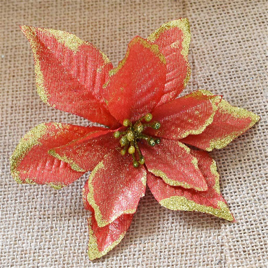 Kr/änze Weihnachtsstern K/ünstlich Christstern Weihnachtsblumen Weihnachtsbaumdeko Weihnachtsbaum Blumen Sixcup k/ünstlichen Weihnachtsbaum