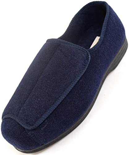 Mens Orthopaedic  EEE Wide Fit Adjustable Velcro Slipper Boot  Slippers   Navy  US