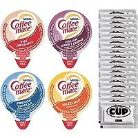 Coffee-Mate Liquid .375oz Variety Pack (4 Flavor) 100 Count includes Original, French Vanilla, Hazelnut, Italian Sweet…