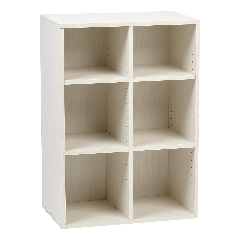 Off White IRIS USA, Inc. 596331 Wood Shelf, 6-Compartment, Dark Brown