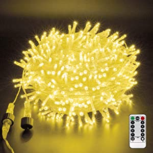 XUNXMAS Indoor Outdoor Christmas Lights 500 LED 164ft Warm White Connectable, Christmas Tree String Lights Plug in Fairy Lights with Remote 8 Modes Timer for Wedding Party Yard Decor