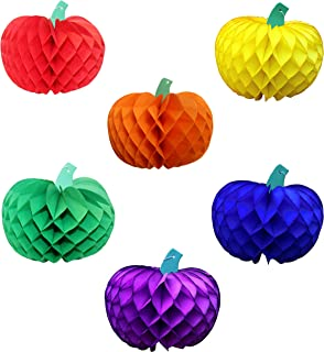 product image for 6-piece Rainbow Themed 10 Inch Honeycomb Tissue Paper Pumpkin Party Decorations (Red, Orange, Yellow, Green, Blue, Purple)