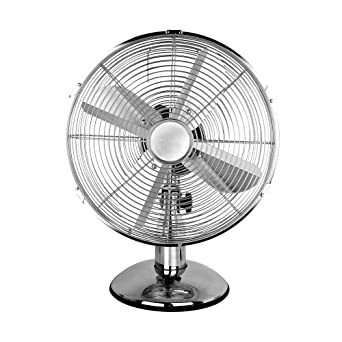 BARGAINS-GALORE 12 OSCILLATING DESK FAN COOLING AIR METAL CHROME 3 SPEED HOME OFFICE 30W NEW Desk Fans Kitchen & Home Appliances