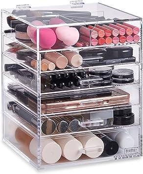 Beautify Rangement 6 Niveaux Maquillage 5 Tiroirs Et Separateurs Amovibles Acrylique Amazon Fr Beaute Et Parfum