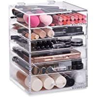 Beautify Acrylic Cosmetic Organiser Clear Makeup Beauty Storage Box Cube With 5 Drawers 6 Tier & Removable Divider