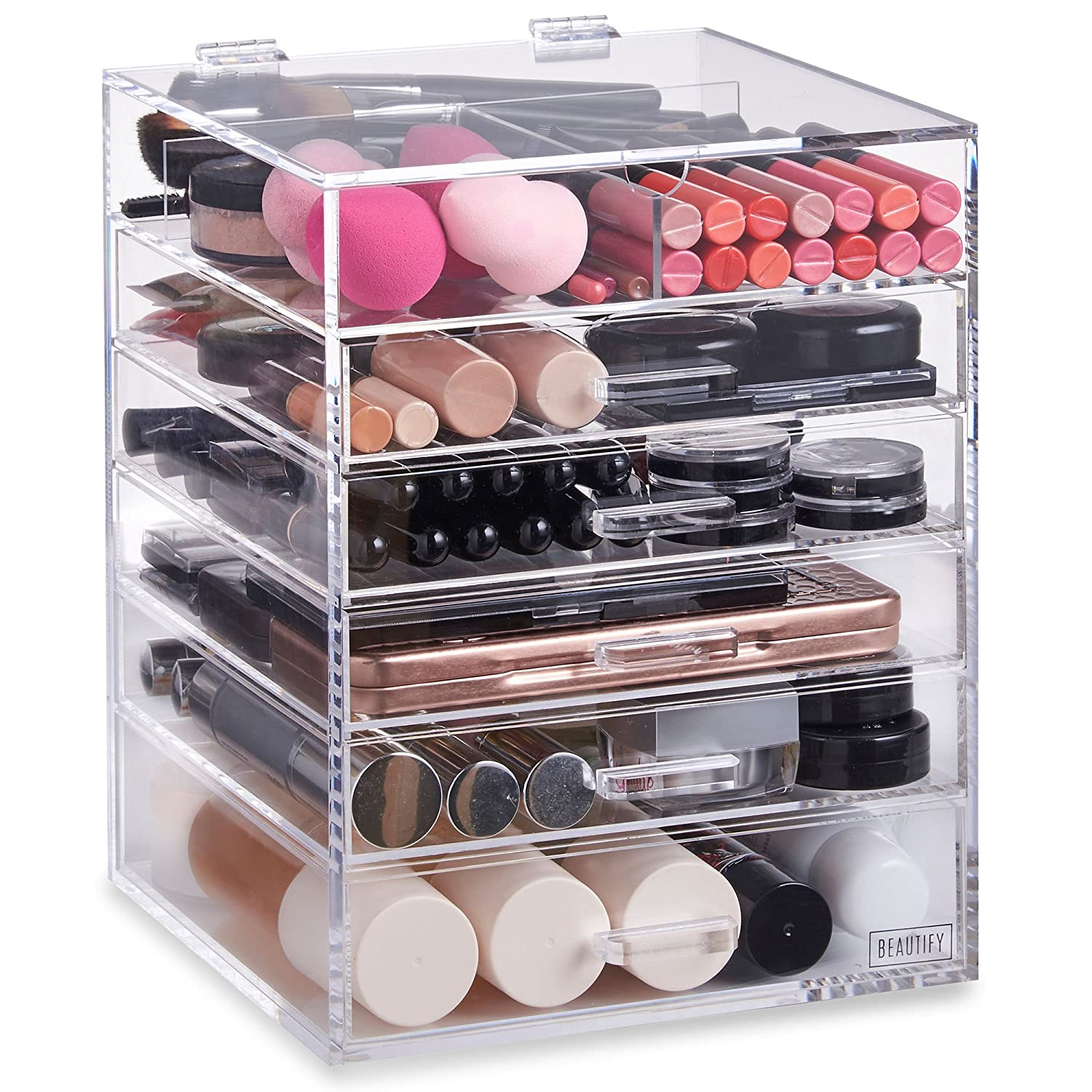 Beautify Acrylic Cosmetic Organiser Clear Makeup Beauty Storage Box Cube With 5 Drawers 6 Tier & Removable Divider 10/044