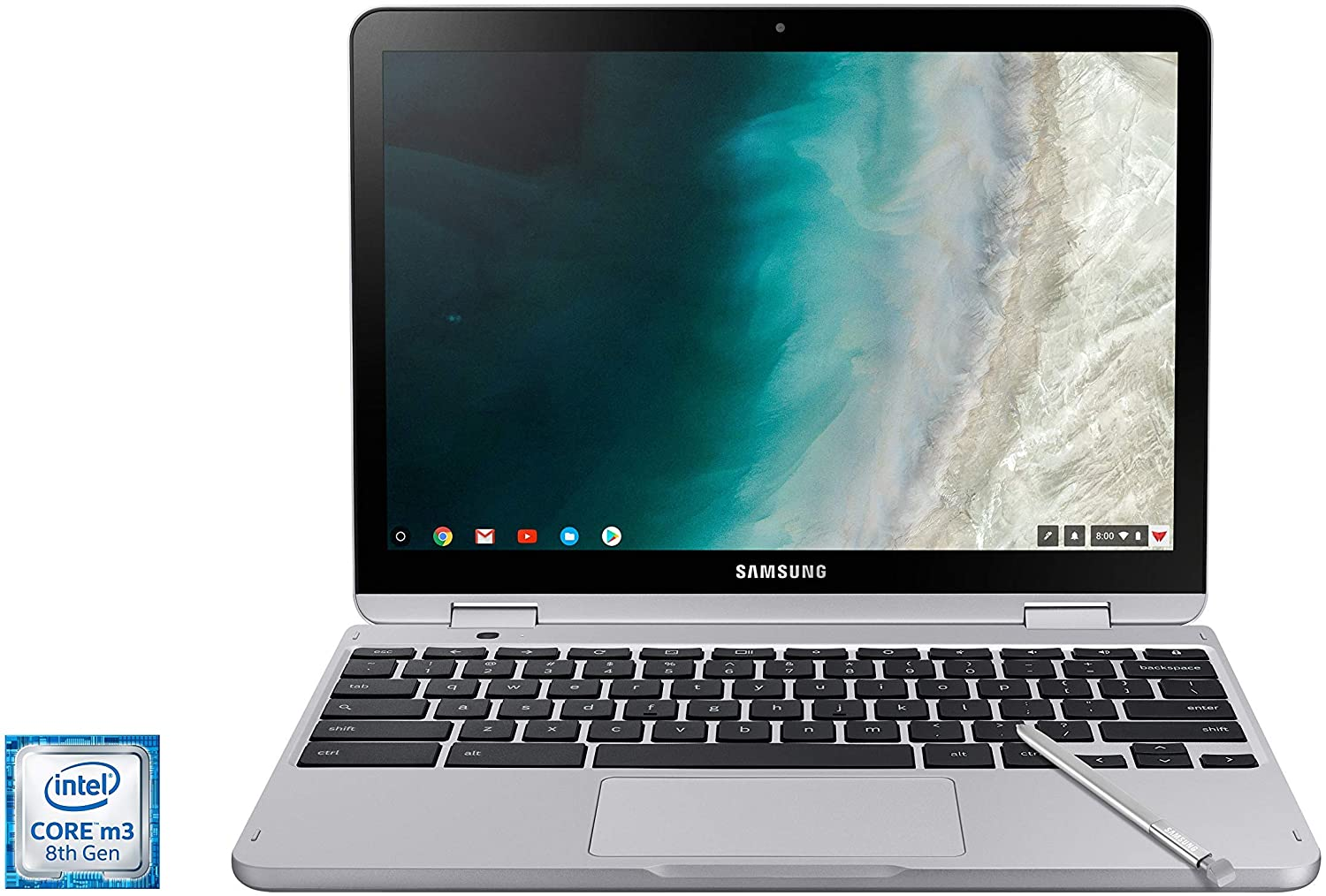"Samsung Chromebook Plus V2, 2-in-1, Intel Core m3, 4GB RAM, 64GB eMMC, 13MP Camera, Chrome OS, 12.2"", 16:10 Aspect Ratio, Light Titan (XE520QAB-K02US) (Renewed)"