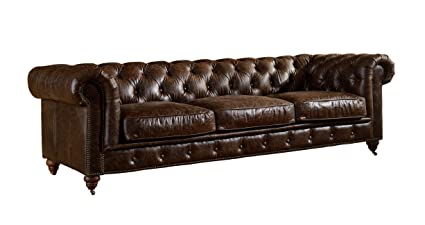 Etonnant Crafters And Weavers Top Grain Vintage Leather Chesterfield Sofa