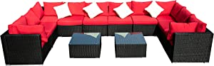 Outdoor Wicker Patio Furniture Sectional Cushioned Rattan Conversation Sofa Sets Black (Red-12 Pieces)