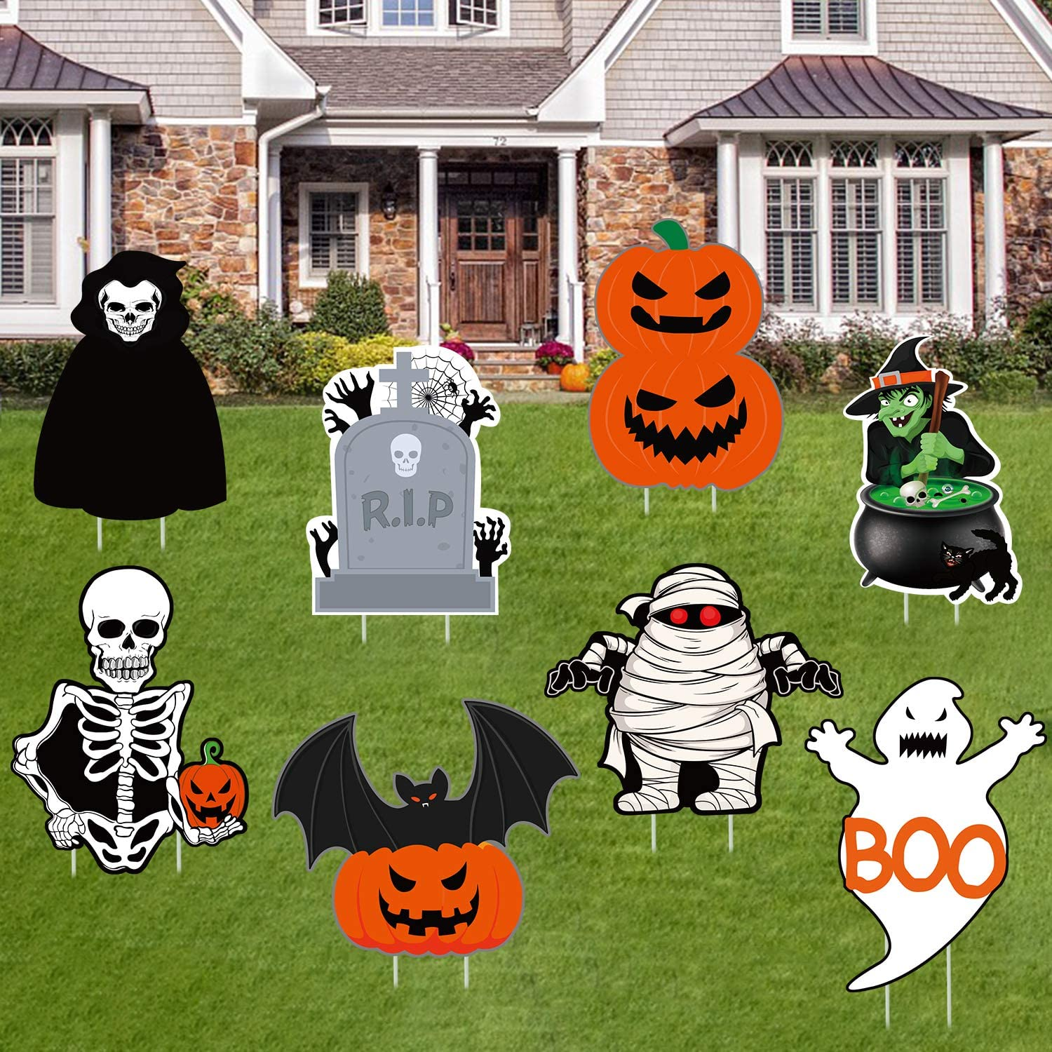 8Pcs Halloween Yard Signs Outdoor Lawn Decorations- Halloween Outdoor Decorations- Halloween Pumpkin Ghost Monster Yard Sign- Spooky Halloween Corrugated Yard Signs with Stakes- Halloween Outdoor Sign