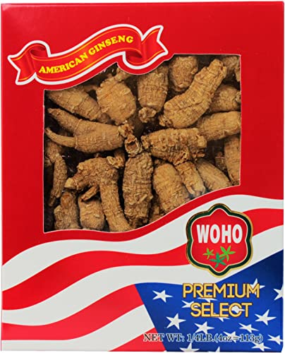 WOHO 112.4 Short Medium American Ginseng Roots 4oz Box