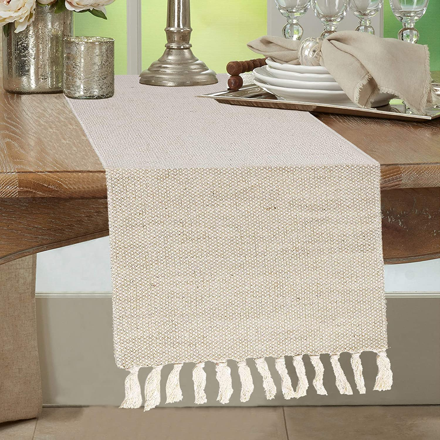 BIOMELAUS Burlap Farmhouse Table Runner, Natural Jute Rustic Table Cover with Tassels for Country Wedding Picnic Party Family Dinner Vintage Dining Table Piano Runner, 13x72