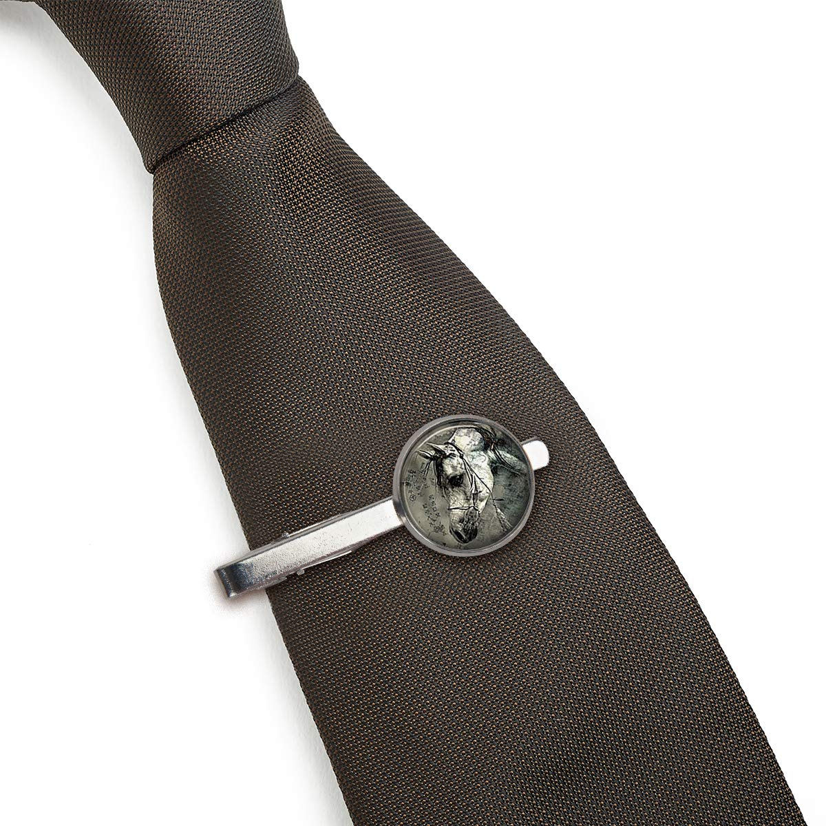 LooPoP Men Tie Clip Horse Nature Animal Black and White Stainless Tie Pins for Business Wedding Shirts Tie Clips Include Gift Box