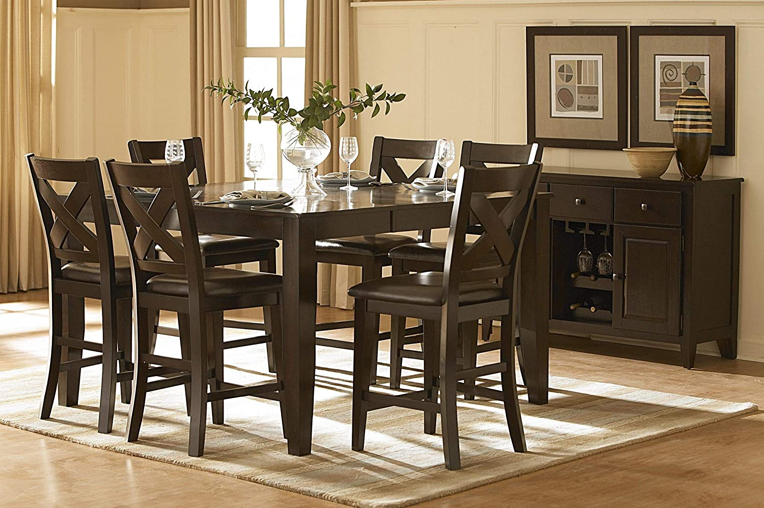 HEFX Counter square dining table for 6