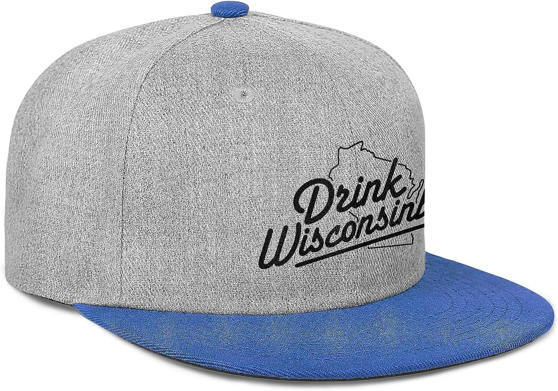 Drink Wisconsinbly in Cute Fonts Men Women Wool Hip Hop Cap Adjustable Snapback Beach Hat