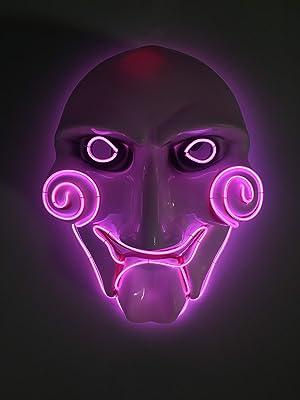 Men's Light Up Saw Movie Halloween Jigsaw Mask