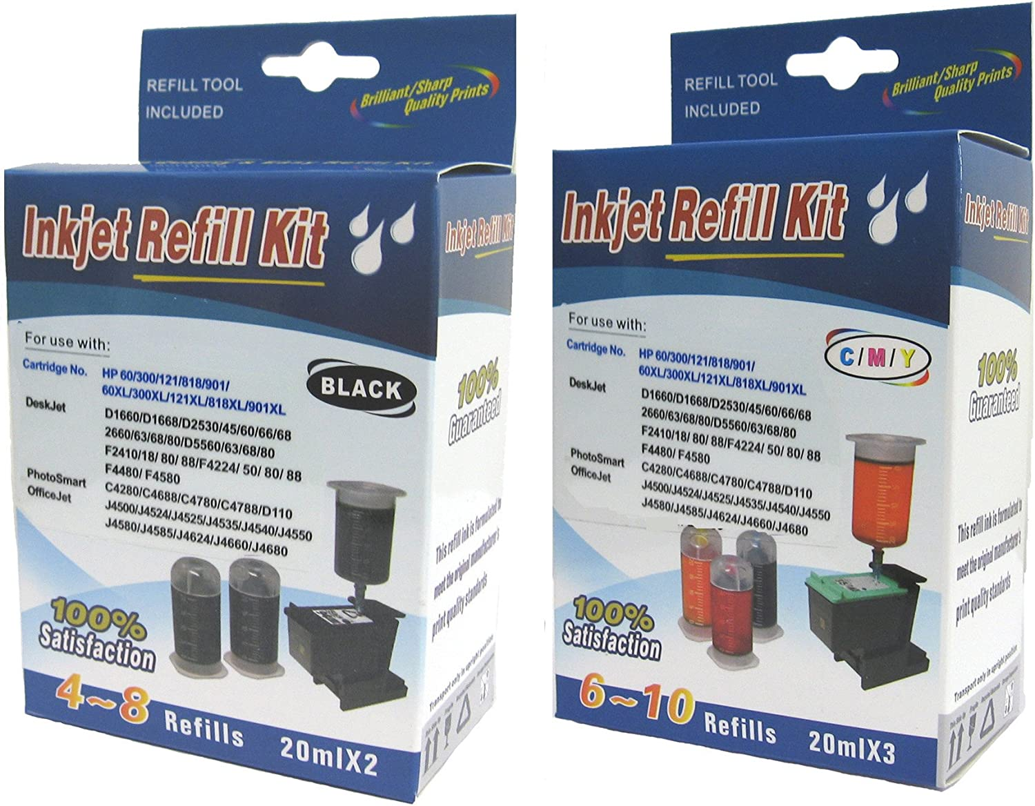 Ink Cartridge Refill kit for HP 63 HP 62 HP62XL HP63XL 64 65 Ink cartridges BK & C,M,Y