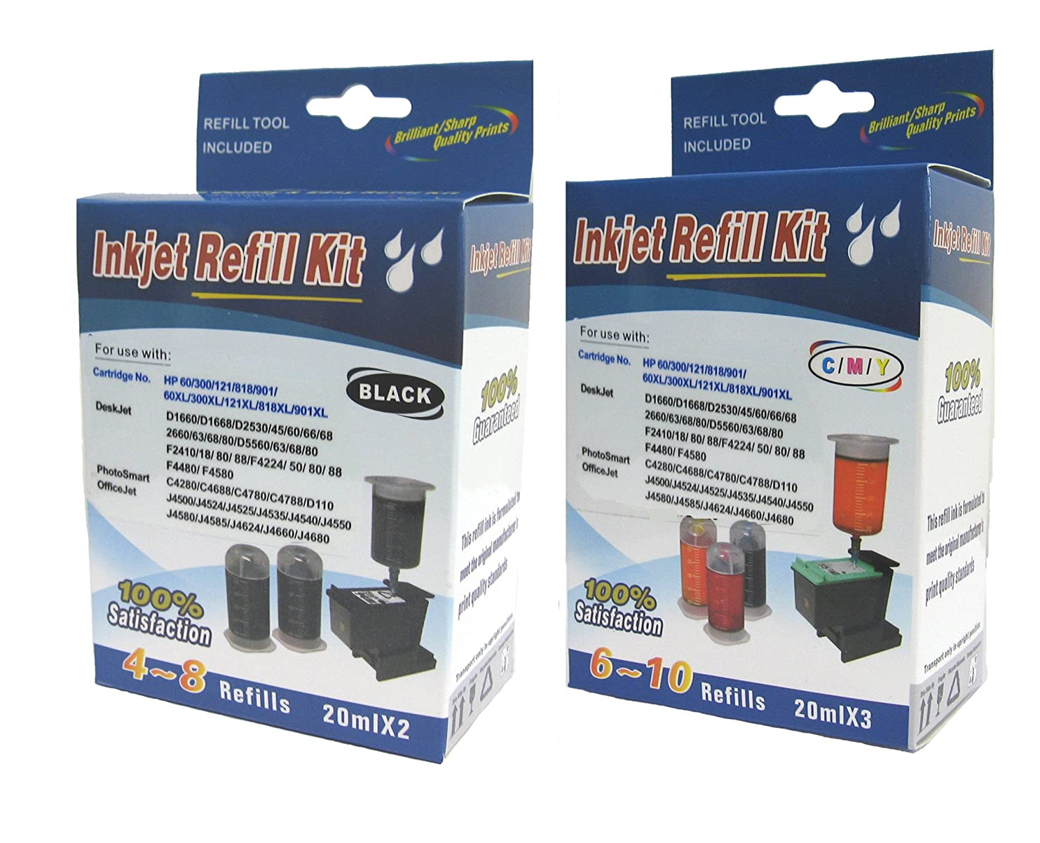 Amazon.com: Cartridge refill kit for HP 62 HP63 HP62XL HP63XL ink cartridges  BK & C,M,Y: Office Products