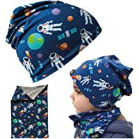 HECKBO® Barn pojkar beanie mössa & loophalsduk set – för vår, sommar, höst och vinter – vändmössa astronaut Space – 2…