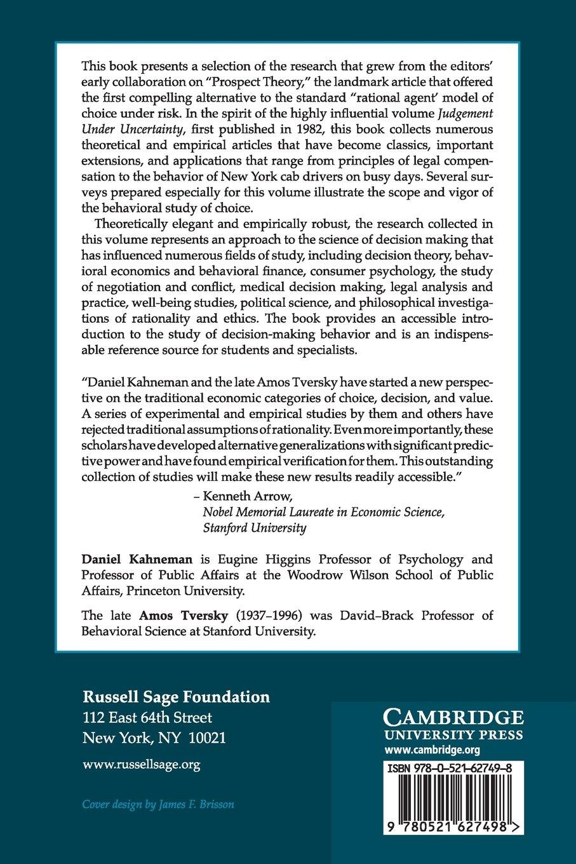 Choices, Values, and Frames: Amazon.co.uk: Daniel Kahneman, Amos ...