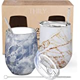 Stainless Steel Insulated Wine Tumblers - THILY 12 oz Cute Travel Stemless Glasses with Sliding Lids and Metal Straws, Keep Hot or Cold for Wine, Coffee, Juice, 2 Pack(Gold Marble + Blue Marble)
