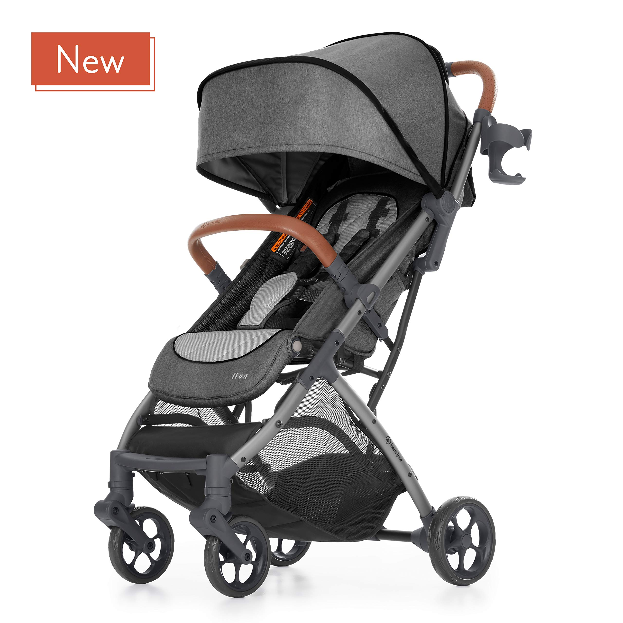 born free LIVA Compact Fold Stroller - Lightweight Stroller with Compact Fold and Lightweight Frame - Oversized Canopy and Large Storage Basket