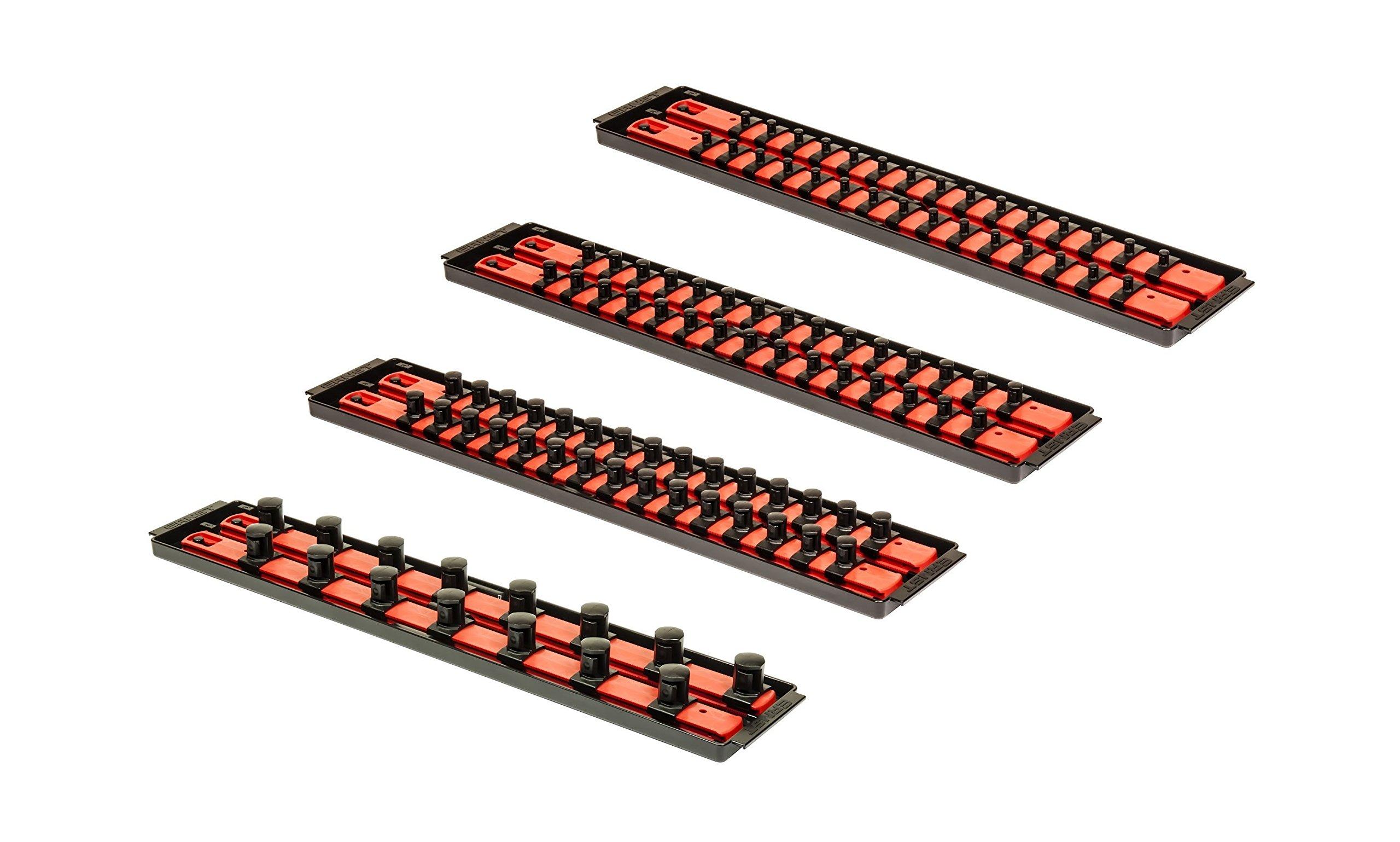 Ernst Mfg 8452+8453+8454+8458 Red Socket BOSS High-Density Tray Set w/8 Rails