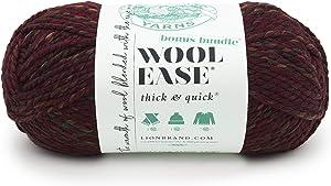 Lion Brand Yarn Wool-Ease Thick & Quick Bonus Bundle Yarn, One skein, Spiced Apple