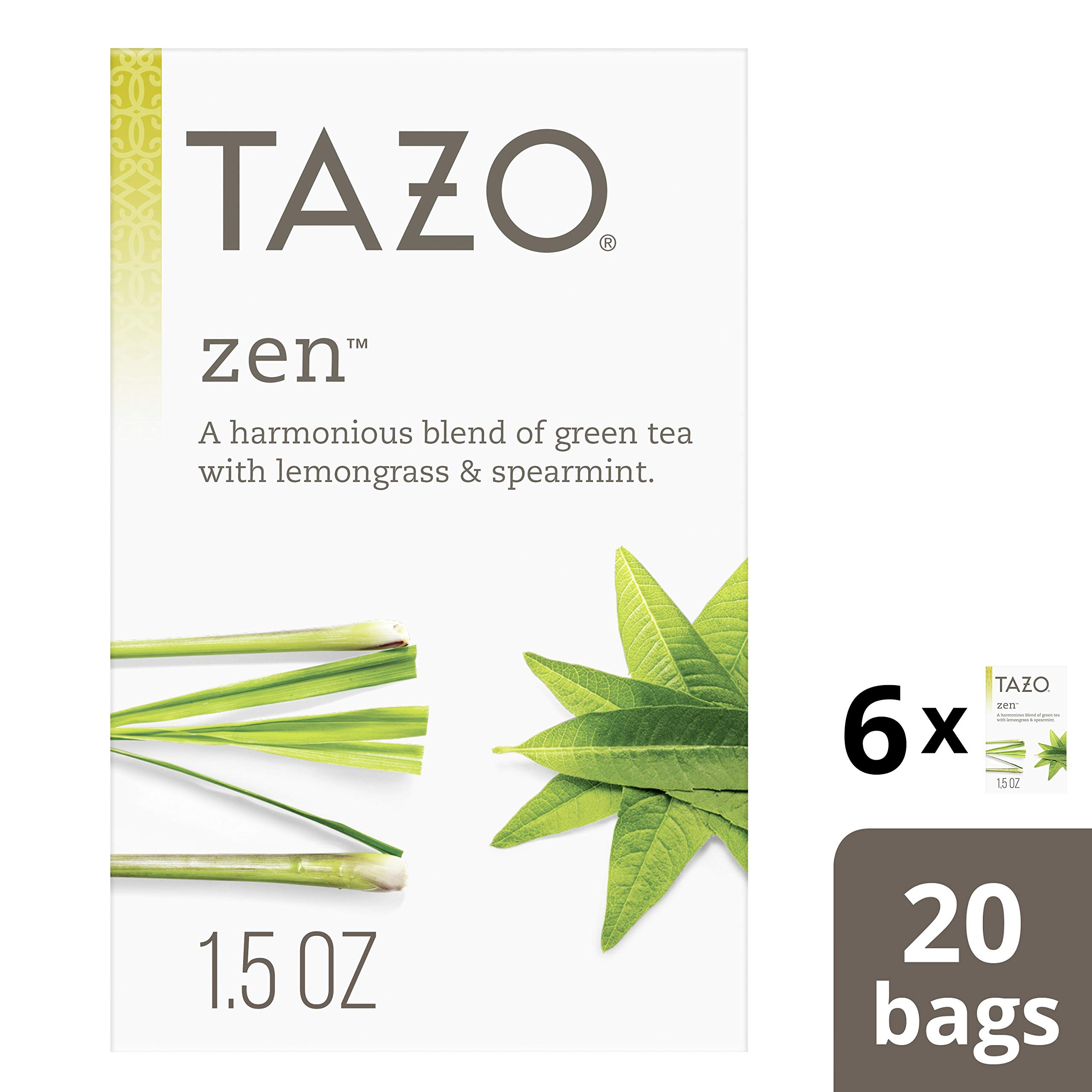 Tazo Zen Green Tea Bags for an invigorating cup of green tea Zen Tea, 20 Count, Pack of 6 by Tazo