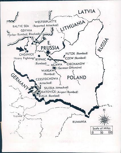 Ww2 Poland Map.Amazon Com Vintage Photos 1939 Photo Ww2 Era Map Warfare Germany