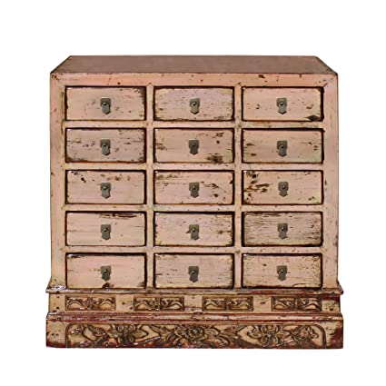 reputable site 1657c 56ec1 Amazon.com: Chinese Distressed Mauve Beige 15 Drawers ...