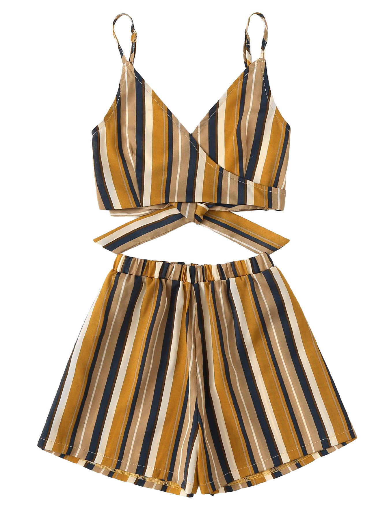 MakeMeChic Women's 2 Piece Outfit Summer Striped V Neck Crop Cami Top with Shorts Yellow S