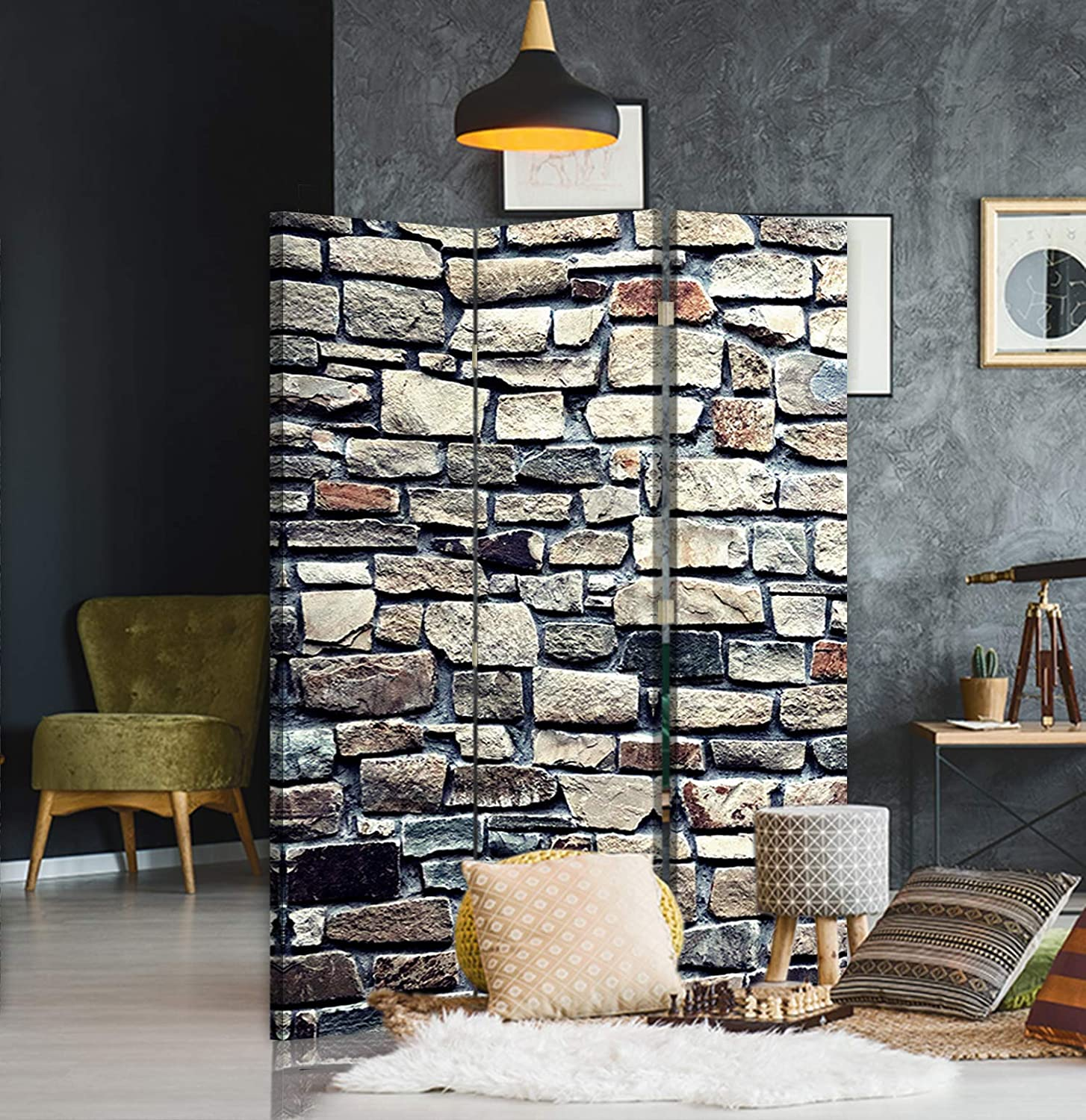 Folding screen Wall paravent single-sided 5 panels Abstract Brown 180x175 cm