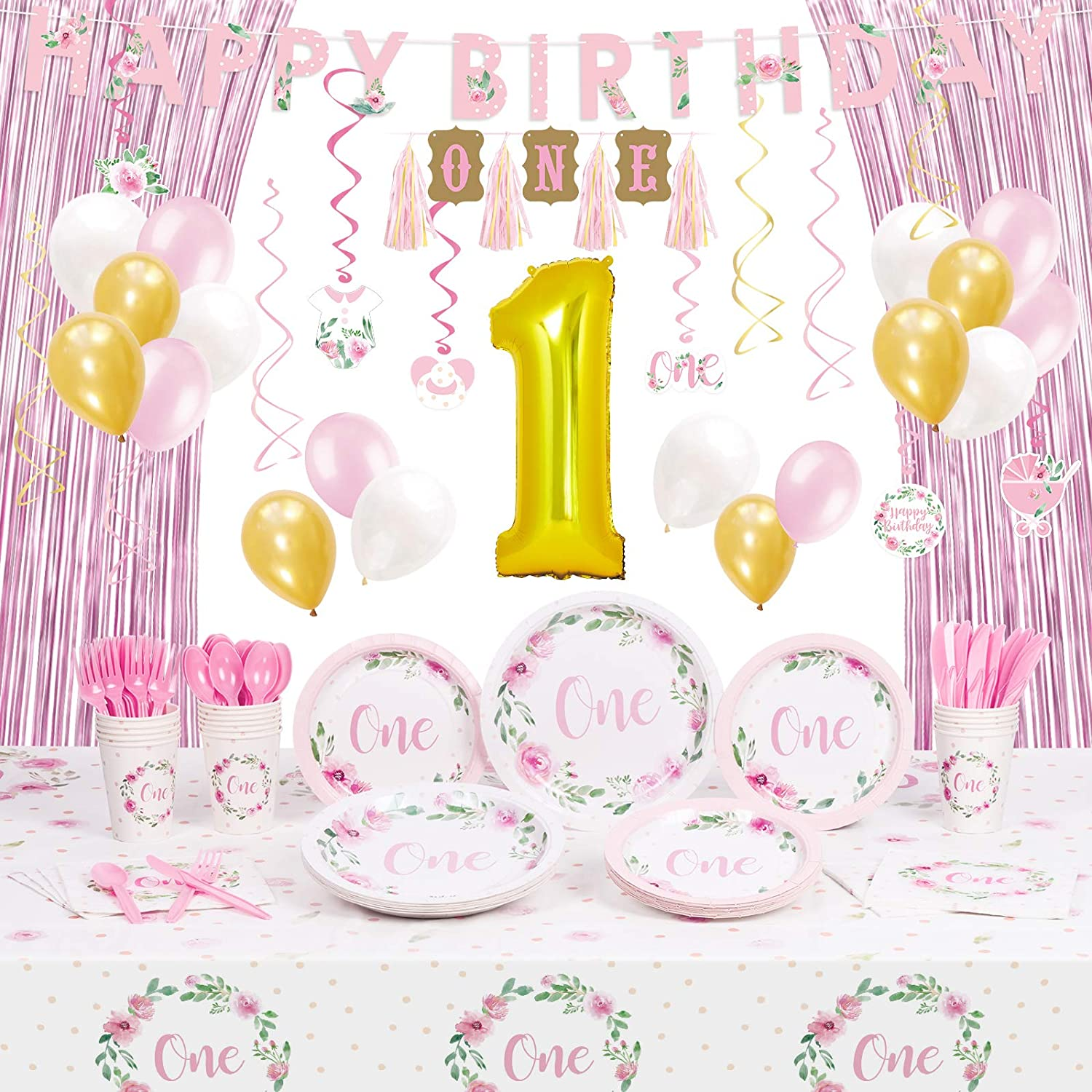 Decorlife First Birthday Decorations for Girls, Baby 1st Birthday Party Plates and Napkins for 16, High Chair Decoration, 32