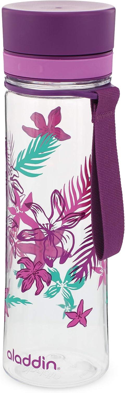 Aladdin Botella de agua «Aveo», plástico, Purple Print, 0,6 Litros